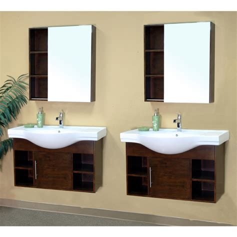 double sink bathroom vanity  medium walnut