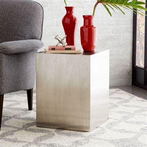 west elm side table metal cube side table brushed nickel west elm
