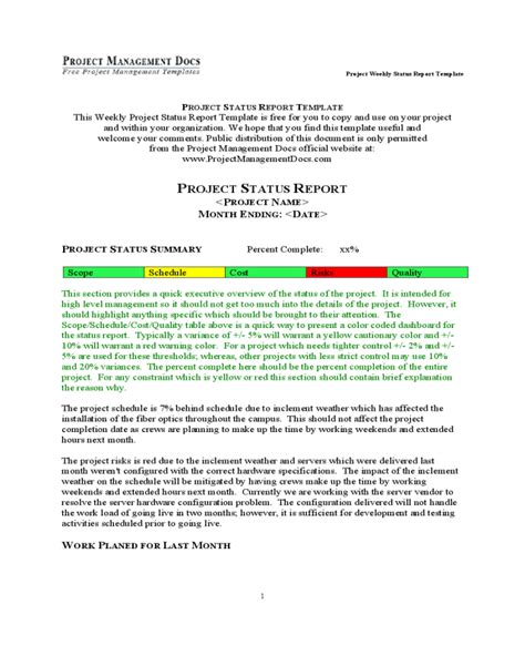 project status report template fillable printable
