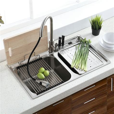 mount double sink modern  stainless steel kitchen