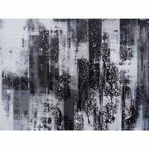 Grand Tableau Blanc : peinture design tableau abstrait contemporain blanc noir ~ Teatrodelosmanantiales.com Idées de Décoration