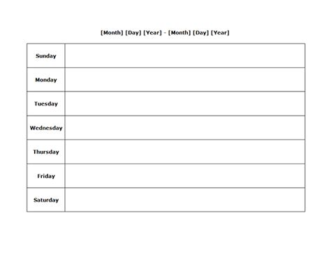 weekly blank calendar landscape   printable templates