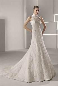 high neck lace mermaid wedding dress With high neckline wedding dress