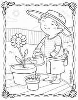 Coloring Plantation Gardening Rocks Spring Kleurplaat Printable Tuin Colouring Flower Adult Drawing Sheets Enjoying Lente Sketch Cat Template Gardens Adults sketch template