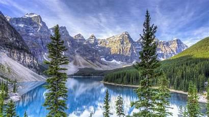 4k Lake Hdr Canada Background Moraine Alberta