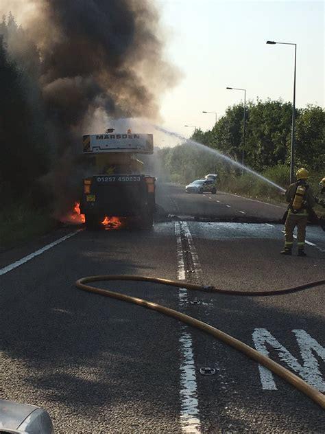 truck fire  mm junction granada itv news