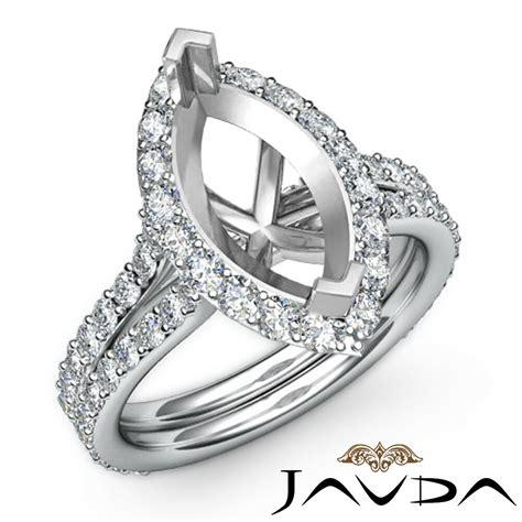 halo setting diamond engagement ring marquise mount 18k white gold 1 36ct ebay