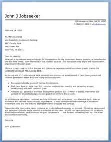 Banker Resume Cover Letter by Investment Banker Cover Letter Sle Resume Downloads