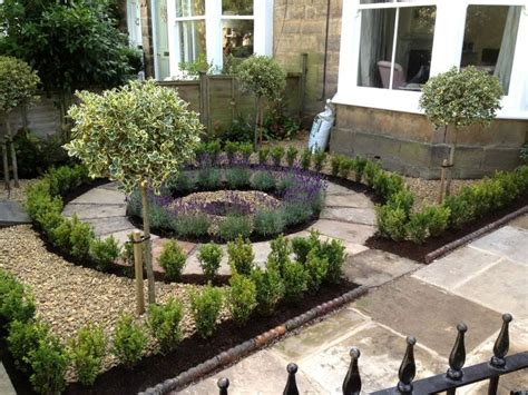 Beautiful No Grass, Formal Front Yard Garden Design With