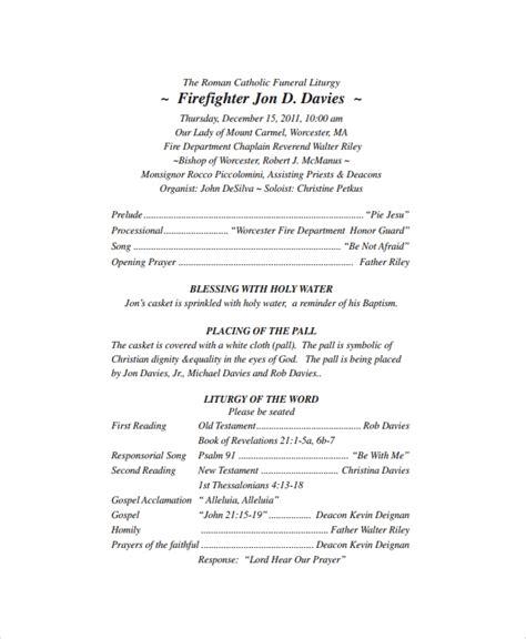 sample catholic funeral program  documents