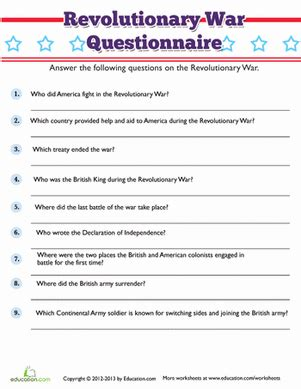 revolutionary war trivia worksheet education