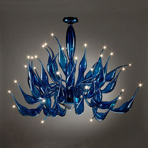 murano glass cobalt blue tentacoli chandleier modern