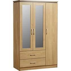 furniture kitchen storage charles 3 door 2 drawer mirrored wardrobe