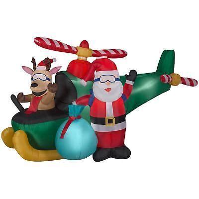 christmas inflatable santa reindeer helicopter animated