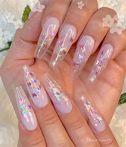 Nails Nail Butterfly Acrylic Glitter Ombre Designs
