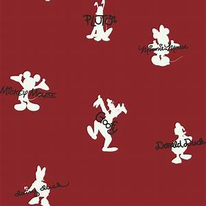 York Wallpaper Red Mickey Mouse Autographs and Silhouettes ...