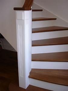 Marche D Escalier En Chene : habillage d un escalier en b ton avec des marches en ch ne teint es et contremarche laqu e blanc ~ Melissatoandfro.com Idées de Décoration