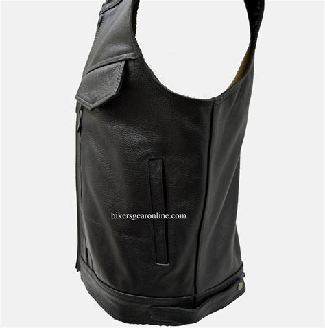 motorcycle jacket vest mens leather motorcycle vest with gun pockets