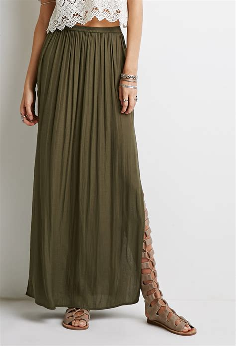 Forever 21 High-Slit Maxi Skirt in Green - Lyst