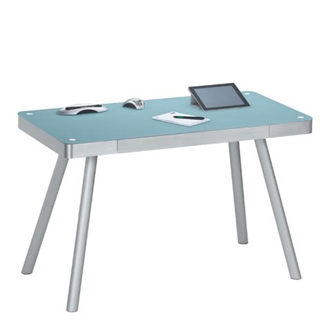 glass desk metal legs futura computer desk in atlantic blue glass top with metal l