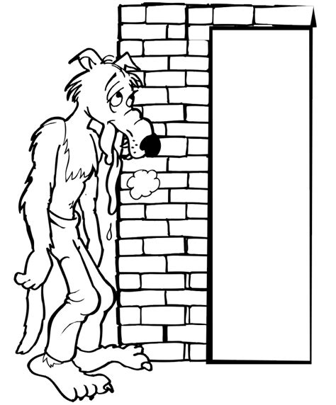 The Three Little Pigs Coloring Page Wolf Brick House