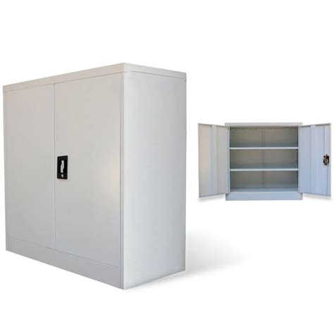 vidaxl co uk metal office cabinet 2 doors 90 cm grey