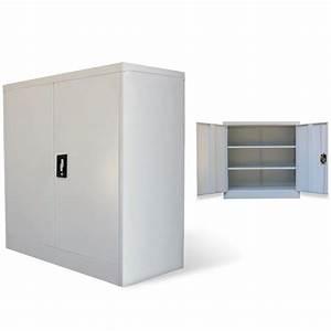 Armoire De Bureau Métallique : la boutique en ligne armoire m tallique de bureau avec 2 portes 90 cm gris ~ Melissatoandfro.com Idées de Décoration