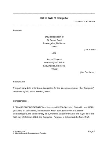 Boat Bill Of Sale New Hshire by Free Computer Bill Of Sale Usa Templates