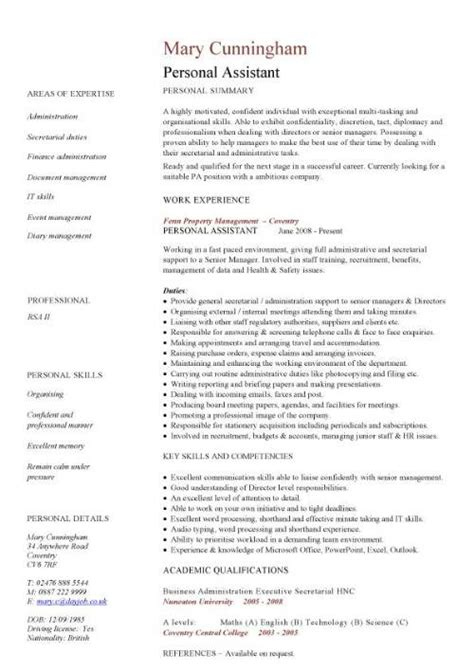 How To Write A Resume For Personal Assistant by Personal Assistant Cv Sle