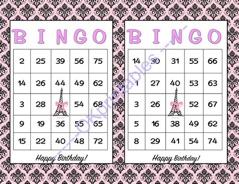happy birthday bingo cards printable  okprintables