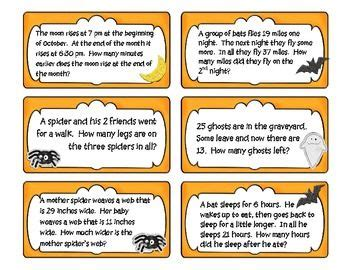 freebie halloween math problem solving task cards