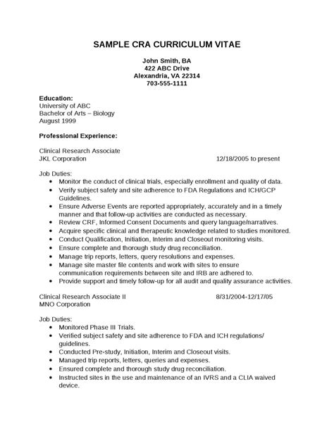 Entry Level Cra Resume Sle make a cra resume sle 28 images resume for clinical research nursing resume format pdf