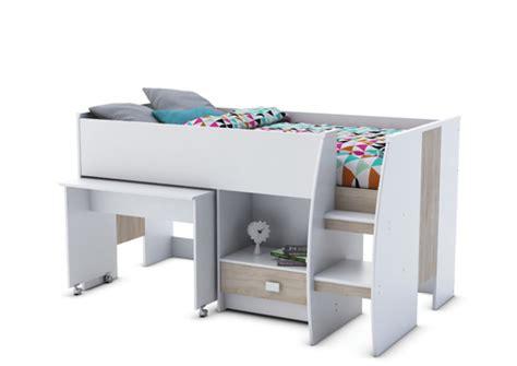 combiné lit bureau conforama lit combine bureau axel blanc chene