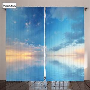 Print curtains living room bedroom blue sky sea horizon for Sky blue curtains for bedroom
