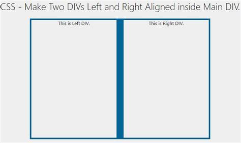 Div Left Css Make Two Divs Left And Right Aligned Inside Div