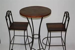 Table Bois Et Fer : photo table de bar fer forge et bois ~ Teatrodelosmanantiales.com Idées de Décoration