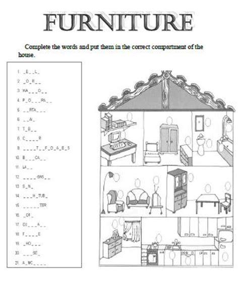 house  furniture worksheet