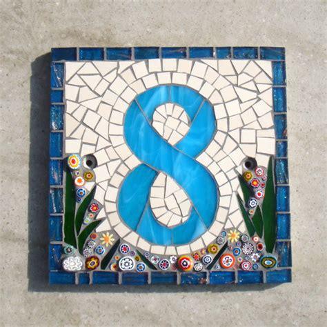 custom mosaic house number sign plaque address yard