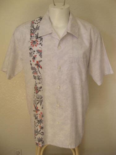 Rare Mens Rockabilly 50s White L Bowling Shirt One Panel