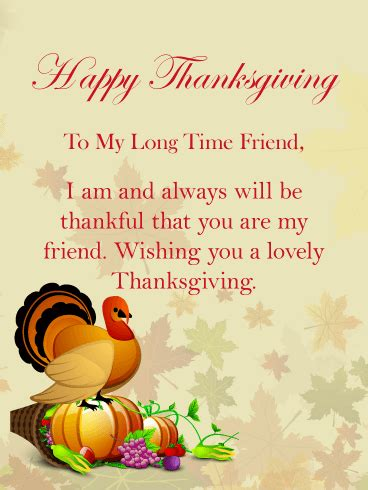 long time friend happy thanksgiving card