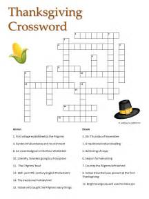 Printable Thanksgiving Crossword Puzzle