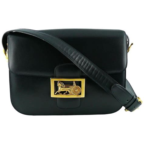 7112397ece 1500 x 1500 www.1stdibs.com. Celine Vintage Horse Carriage Buckle Navy Blue Box  Leather .