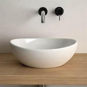 Vasque à Poser Salle De Bain : vasque poser ovale 40x33 cm c ramique aoki ~ Edinachiropracticcenter.com Idées de Décoration