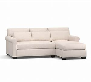 York roll arm deep seat upholstered chaise sofa sectional for Pottery barn deep sectional sofa