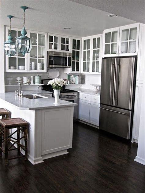 small kitchen flooring ideas kitchen white cabinets hardwood floors white gray