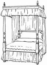 Bed Clipart Canopy Bedroom Clip Colouring Coloring Poster Four Household Transparent Cliparts Library Wpclipart Template Sketch Formats sketch template