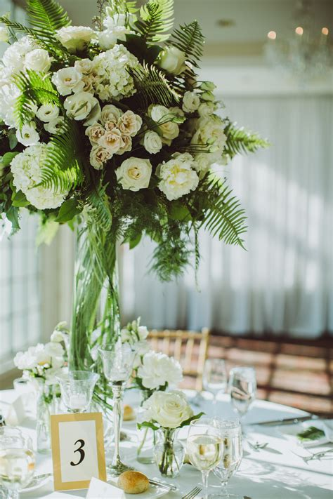 tall natural lisianthus  greenery centerpiece