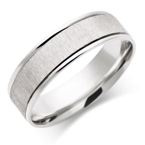 men s 9ct white gold wedding ring 0005017 beaverbrooks the jewellers