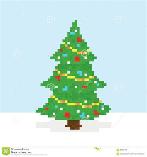 pixel art christmas tree vector postcard stock vector