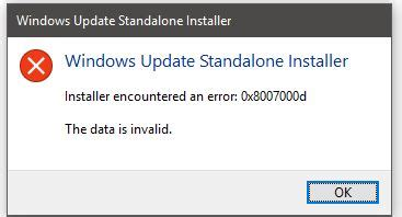 installer encountered an error 0x8007000d the data is